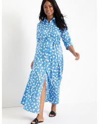 Eloquii Printed Maxi Shirtdress - Blue