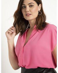 Eloquii Notch Collar Blouse - Pink