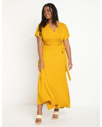 Eloquii Maxi Wrap Dress - Yellow