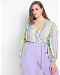 Eloquii Stripe Surplice Bodysuit - Multicolor