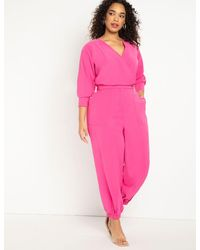 Eloquii Tapered Leg Jumpsuit - Pink