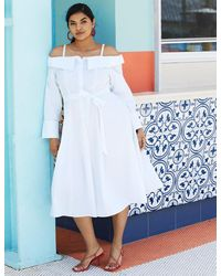 Eloquii Fit And Flare Dress - White