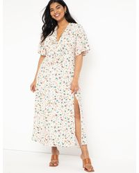 Eloquii Flutter Sleeve Maxi Dress With Slits - Multicolor