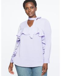 Eloquii - V-neck Bow Blouse With Cascading Ruffle - Lyst