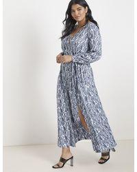 Eloquii Wrap Maxi Dress - Blue
