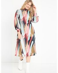 Eloquii A-line Dress With Puff Sleeves - Multicolor