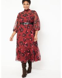 Eloquii Sheer Maxi Dress With Puff Sleeves - Red