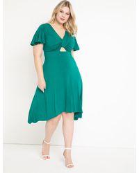 Eloquii Cutout Detail Flutter Sleeve Dress - Green
