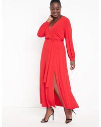 Eloquii Wrap Maxi Dress - Red
