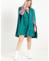 Eloquii Double Breasted Cape Coat - Blue