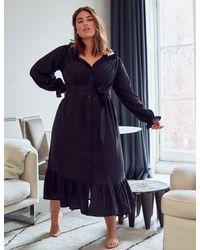 Eloquii Linen Maxi Day Dress - Black