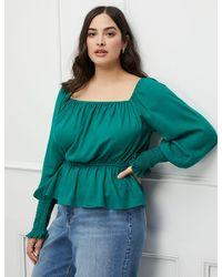 Eloquii Elements Puff Sleeve Top With Peplum - Green