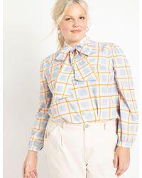 Eloquii Tie Neck Blouse - Multicolor