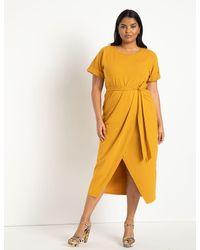 Eloquii Wrap Skirt Dress - Yellow