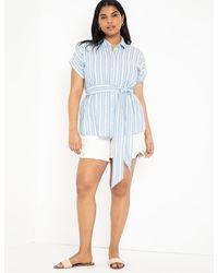 Eloquii Distressed Denim Shorts - Blue