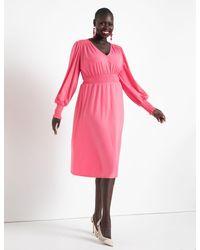 Eloquii Smocked Waist Midi Dress - Pink