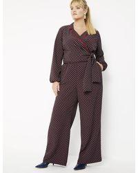 Eloquii Printed Wide Leg Pajama Pant - Purple