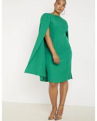 Eloquii Cape Dress - Green
