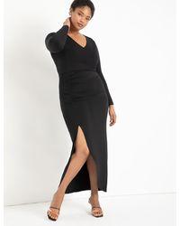 Eloquii Ruched Gown - Black