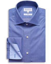 Emmett London 140s Ultra Fine Mid Blue Twill Shirt