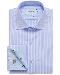Emmett London Thin Blue And White Striped Pin Point Shirt