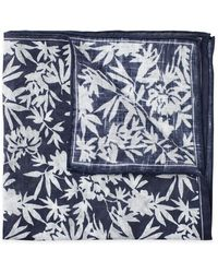 Emmett London - Navy Floral Print Linen Pocket Square - Lyst