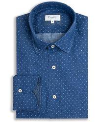 Emmett London - Navy Print Linen Shirt - Lyst