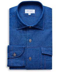 Emmett London Indigo Blue Jeans Linen Shirt
