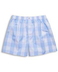 Emmett London Large Light Blue Checked Boxer Shorts