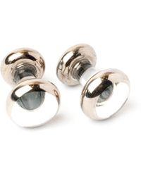 Emmett London White Fine Platinum Coated Cufflinks - Multicolour
