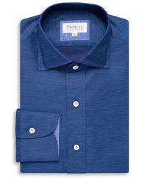 Emmett London Fine Royal Blue Cotton Linen Shirt