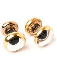 Emmett London Black Fine Gold Coated Cufflinks - Multicolour