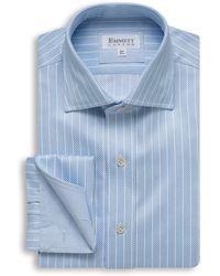 Emmett London Light Blue And White Striped Royal Twill