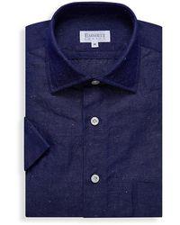 Emmett London Dark Blue Cotton Linen And Silk Short Sleeve Shirt
