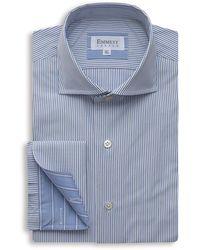 Emmett London White & Blue Fine Striped Shirt