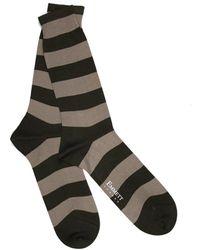 Emmett London Khaki & Beige Srtiped Socks - Multicolour
