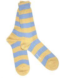 Emmett London Yellow & Sky Blue Striped Socks
