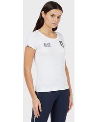 Emporio Armani Camiseta de punto Team Italia - Blanco