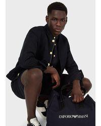 Emporio Armani Bermuda-Shorts mit elastischer Taille aus Leinen-Canvas-Gemisch - Schwarz