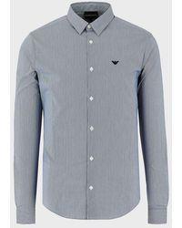 Emporio Armani Stretch Cotton Poplin Striped Shirt - Bleu