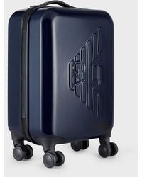Emporio Armani Abs Trolley Bag With Embossed Eagle And Tsa-approved Lock - Blue