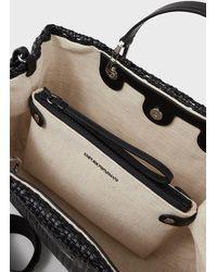 Emporio Armani Sac cabas MyEA Bag avec trame tissée - Noir