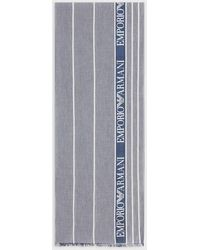 Emporio Armani Scarf With Jacquard Lettering - Blue