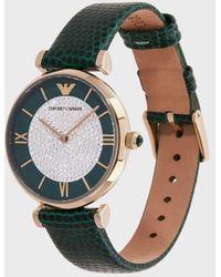 Emporio Armani Grüne Uhr Mit Zwei Zeigern Und Lederarmband