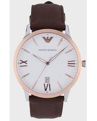Emporio Armani Reloj de piel con tres manecillas para hombre - Marrón
