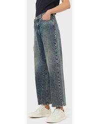 Emporio Armani Jeans J31 wide cropped in comfort denim used look - Blu