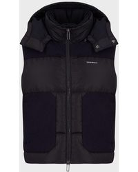 Emporio Armani Hooded Colour-blocked Full-zip Puffer Gilet - Blue