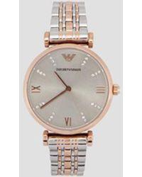 Emporio Armani Reloj con pulsera de malla trenzada con cristales en la esfera, caja de acero chapado en oro rosa - Azul