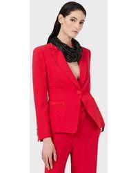 Emporio Armani Veste à simple boutonnage en envers satin - Rouge