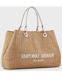 Emporio Armani Large Myea Bag Shopper Bag In Straw - Natural